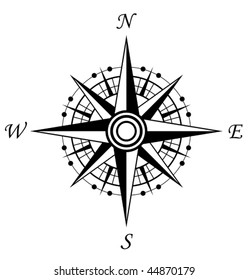 Vector version. Compass symbol isolated on white for design. Jpeg version is also available