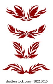 Vector version. Floral decorations for design isolated on white