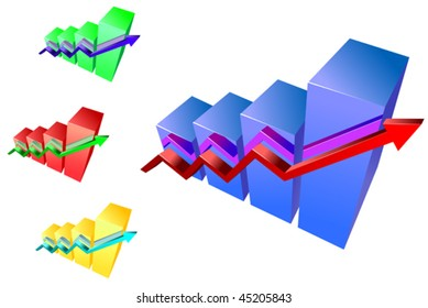 Vector version. Glossy growth graphs for design and business concept. Jpeg version is also available