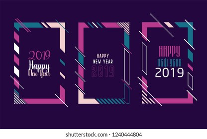 Vector vertical background frame for text Modern Art graphics for hipsters. Happy New Year 2019 design elements for design of gift cards, brochures, flyers, leaflets, posters. Set