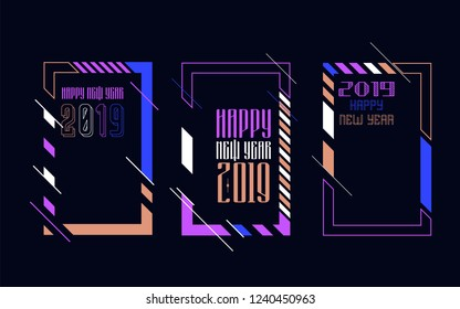 Vector vertical background frame for text Modern Art graphics for hipsters. Happy New Year 2019 design elements for design of gift cards, brochures, flyers, leaflets, posters