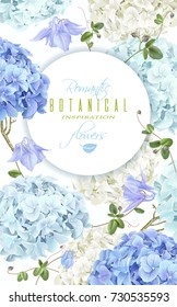 Vector vertical banner with blue and white hydrangea flowers on white background. Floral design for cosmetics, perfume, beauty care products. Can be used as greeting card, wedding invitation