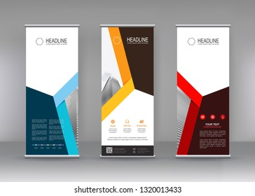 Vector vertical banner. Banner design in three different color with building illustration. Abstract geometric background. Can use for Cover, Annual Report, Poster, Brochure, Flyer, Mobile wallpaper.