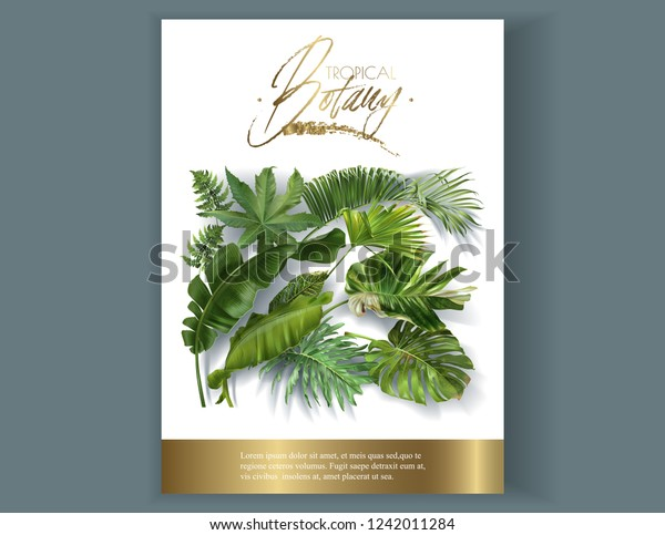 Vector Vertical Banner Green Tropical Leaves Stock Vector Royalty Free 1242011284