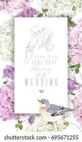Vector vertical banner with hydrangea, bell flowers and cute bird on white. Floral design for cosmetics, perfume, beauty products. Best for greeting card, happy birthday card or wedding invitation