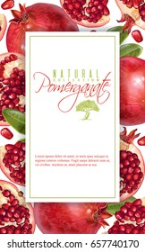 Vector vertical banner with pomegranate fruits on white background. Design for cosmetics, spa, pomegranate juice, health care products, perfume. Can be used as vegetarian menu or fruit background