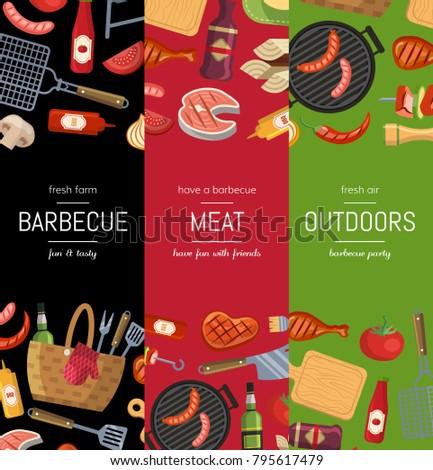 Vector Vertical Banner Poster Templates Barbecue Stock Vector ...