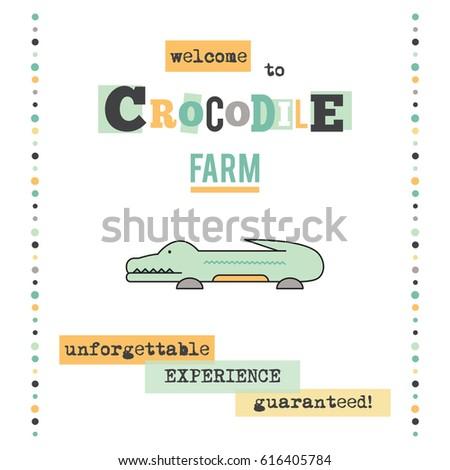 vector vertical banner template crocodile zoo stock vector royalty