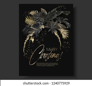 Vector vertical banner with tropical leaves and gold splashes on black  background. Exotic botanical design for Christmas greeting card, party invitation, holiday sales, poster, web page, packaging