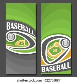 Vector vertical Banners for Baseball: 2 layouts for title on baseball theme, ball flying on curve trajectory above diamond base field, abstract banner for text on green background, sport invite ticket