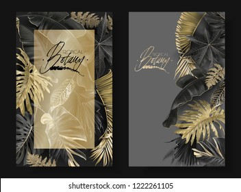 Vector vertical banners with black and gold tropical leaves on dark background. Luxury exotic botanical design for cosmetics, spa, perfume, aroma, beauty salon. Best as wedding invitation card