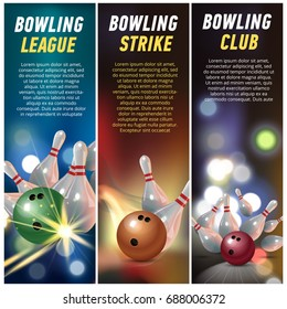 Vector Vertical Banners for Bowling