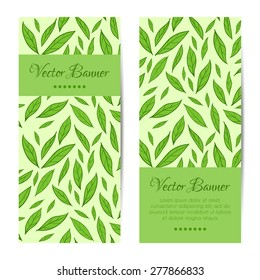 Vector vertical banners, cards set. Green leaves pattern