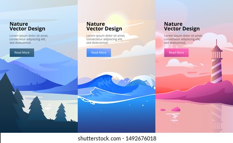 Vector vertical banners of gradient landscape with mountains and wood. Flat style. Abstract background of lighthouse on the coast, national park with a lake, stormy sea with waves.