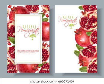 Vector vertical banners with pomegranate fruits on white background. Design for cosmetics, spa, pomegranate juice, health care products, perfume. Can be used as vegetarian menu or summer background
