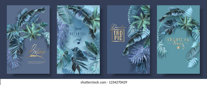 Vector vertical banners set with turquoise tropical leaves. Extraterrestrial fantastic botany design for cosmetics, spa, beauty salon, travel agency