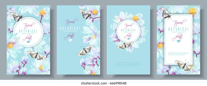 Vector vertical banners set with white lotus and butterflies on blue. Design for natural cosmetics, women hygiene products, soap and napkins. Can be used as greeting cards or wedding invitations