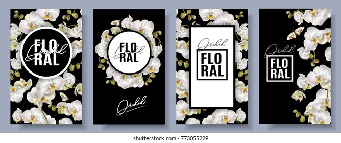 Vector vertical banners set with white orchid flowers on black background. Floral design for cosmetics, perfume, beauty care products. Can be used as greeting card, wedding invitation