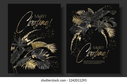 Vector vertical banners with tropical leaves and gold splashes on black background. Exotic botanical design for Christmas greeting card, party invitation, holiday sales, poster, web page, packaging