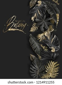 Vector vertical border with black and gold tropical leaves on dark background. Luxury exotic botanical design for cosmetics, spa, perfume, aroma, beauty salon. Best as wedding invitation card