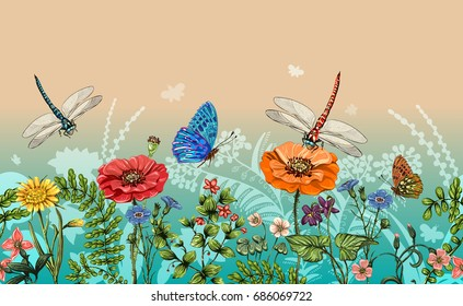 Vector vertical border with dragonflies, butterflies, flowers, grass and plants. Summer style. Seamless nature border, floral background. Vector horizontal banner with colorful plants and insects