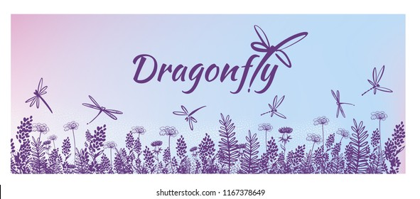 Vector vertical border with dragonflies, flowers, grass and plants. Summer style. Floral background.