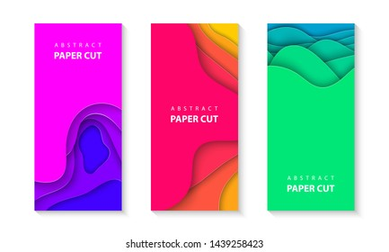 Vector vertical flyers with vivid colors paper cut waves shapes. 3D abstract paper style, design layout for business presentations, flyers, posters, prints, decoration, cards, brochure cover, banners.