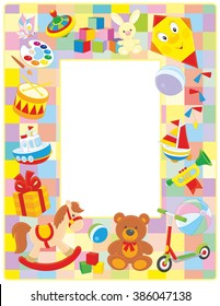 Vector vertical frame border with colorful toys drawn in cartoon-style