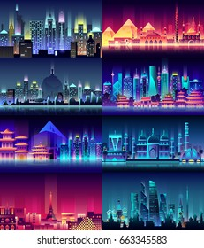 Vector vertical illustration background city night neon style architecture building town country travel Moscow, Russian, capital, France, Paris, Japan, India, Egypt, pyramids, China, Brazil, USA