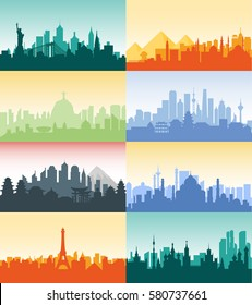 Vector vertical illustration background silhouette architecture buildings monuments town city country travel Moscow, Russian, capital, France, Paris, Japan, India, Egypt, pyramids, China, Brazil, USA