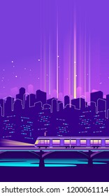 vector vertical illustration neon silhouette of night city in electric lights railway bridge with train