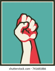 vector vertical illustration retro poster raised up hand clenched into fist symbol of insurrection revolution