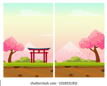 Vector vertical illustrations of Japan with sakura trees, mountains and traditional portal. Perfect for stickers, logo, icon, flyer or other design work