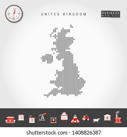 Vector Vertical Lines Pattern Map of United Kingdom. Striped Simple Silhouette of Great Britain. Realistic Vector Compass. Business Infographic Icons.