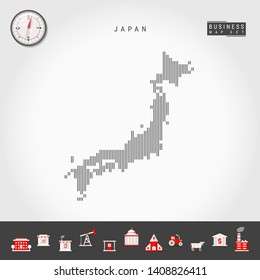 Vector Vertical Lines Pattern Map of Japan. Striped Simple Silhouette of Japan. Realistic Vector Compass. Business Infographic Icons.