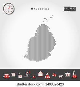 Vector Vertical Lines Pattern Map of Mauritius. Striped Simple Silhouette of Mauritius. Realistic Vector Compass. Business Infographic Icons.