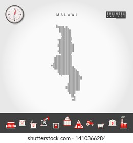 Vector Vertical Lines Pattern Map of Malawi. Striped Simple Silhouette of Malawi. Realistic Vector Compass. Business Infographic Icons.