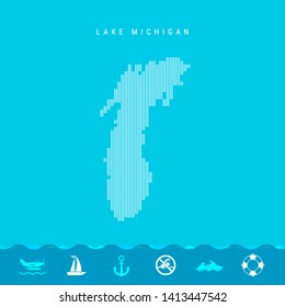 Vector Vertical Lines Pattern Map of Lake Michigan, One of the Five Great Lakes of North America. Striped Simple Silhouette of Lake Michigan. Lifeguard, Watercraft Icons.