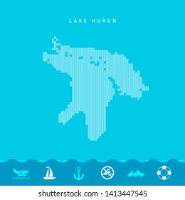 Vector Vertical Lines Pattern Map of Lake Huron, One of the Five Great Lakes of North America. Striped Simple Silhouette of Lake Huron. Lifeguard, Watercraft Icons.