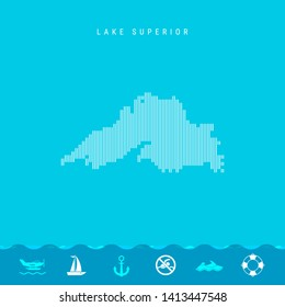 Vector Vertical Lines Pattern Map of Lake Superior, One of the Five Great Lakes of North America. Striped Simple Silhouette of Lake Superior. Lifeguard, Watercraft Icons.