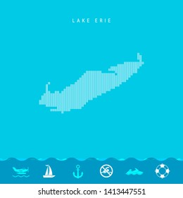 Vector Vertical Lines Pattern Map of Lake Erie, One of the Five Great Lakes of North America. Striped Simple Silhouette of Lake Erie. Lifeguard, Watercraft Icons.