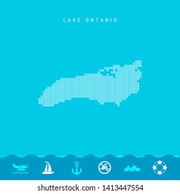 Vector Vertical Lines Pattern Map of Lake Ontario, One of the Five Great Lakes of North America. Striped Simple Silhouette of Lake Ontario. Lifeguard, Watercraft Icons.