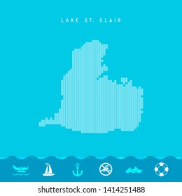Vector Vertical Lines Pattern Map of Lake St. Clair, One of the Lakes of North America. Striped Simple Silhouette of Lake St. Clair. Lifeguard, Watercraft Icons.