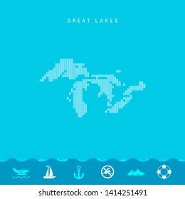 Vector Vertical Lines Pattern Map of all Great Lakes, One of the Lakes of North America. Striped Simple Silhouette of all Great Lakes. Lifeguard, Watercraft Icons.