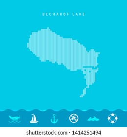 Vector Vertical Lines Pattern Map of Becharof Lake, One of the Lakes of North America. Striped Simple Silhouette of Becharof Lake. Lifeguard, Watercraft Icons.