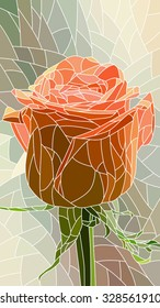 Vector vertical mosaic with large cells of red rose.