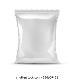 Vector Vertical Sealed Empty Plastic Foil Bag for Package Design with Serrated Edge Close up Isolated on White Background
