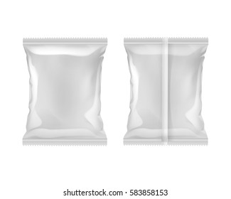 Vector Vertical Sealed Empty Plastic Foil Bag for Package Design Serrated Edges Back Front View Close up Isolated on White Background