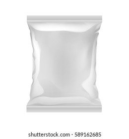Vector Vertical Sealed Empty Plastic Foil Bag for Package Design with Smooth Edges Close up Isolated on White Background