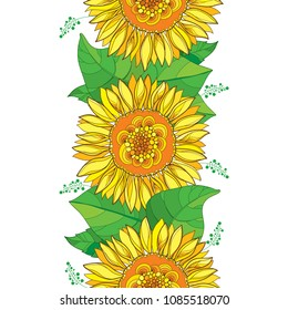 Vector vertical seamless pattern with outline open Sunflower or Helianthus flower in yellow and green leaf on the white background. Floral pattern with ornate contour Sunflower for summer design.